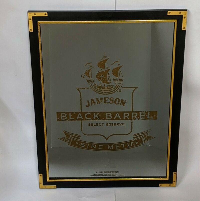 Jameson Black Barrel Irish Whiskey Mirrored Wood Framed Picture Pub Mirror 27x21