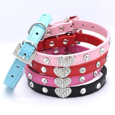 Dog Puppy Heart Diamante Collar Pet Rhinestone PU Leather Band Crystal