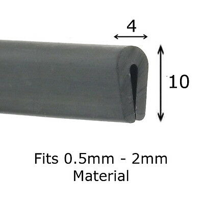 Black Rubber U Channel Edging Trim Seal 10mm x 4mm fits 0.5mm - 2mm
