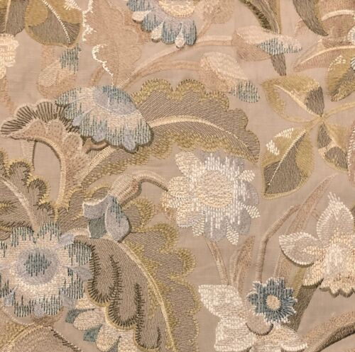 COLEFAX AND FOWLER Tapestry Flower Celadon Floral Embroidery Remnant New