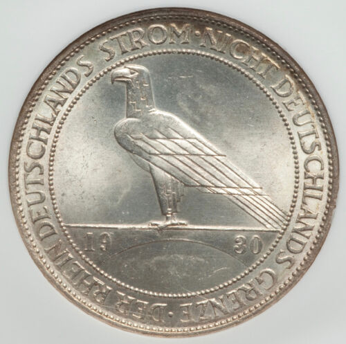 NGC Certified 5 Silver Reichsmark MS64, Weimar Germany Rhineland 1930 A