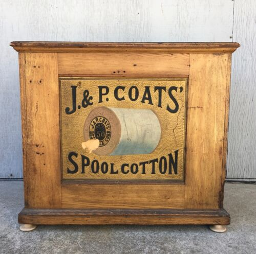 ANTIQUE J P COATS SPOOL CABINET STORE ADVERTISING SEWING FLAT FILES ART JEWELRY