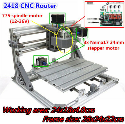 Mini Cnc 2418 Laser Engraving Milling Carving Machine 3 Axis Pcb Wood Router Kit