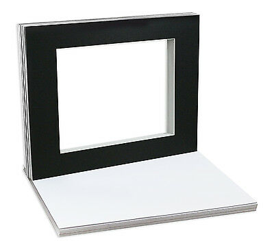 10 of 20x24 BLACK Pre-cut Acid-free WHITECORE mat for 16x20 +Backing