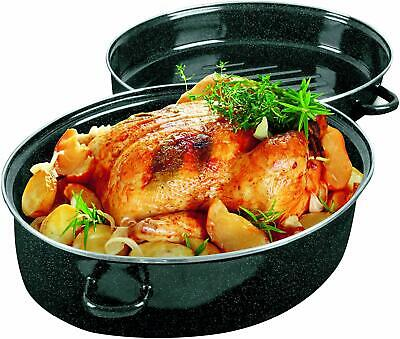 Enamel Turkey Roaster Pan,16.5 x 12 x 8 inches, Black Non Stick Roaster Pan
