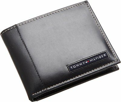 TOMMY HILFIGER MEN'S CAMBRIDGE BLACK LEATHER CREDIT CARD BILLFOLD WALLET