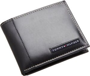 NEW-TOMMY-HILFIGER-CAMBRIDGE-BLACK-LEATHER-CREDIT-CARD-BILLFOLD-MENS-WALLET