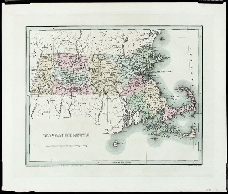 TG BRADFORD Antique & Ext Rare Early 19thC 1838 Map MASSACHUSETTS, GW Boynton