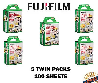 Fujifilm Instax Mini Film 5 Twin Packs (100 Prints) for 8,50s,25,7s,90 & 300 - 5 Twin Packs Film