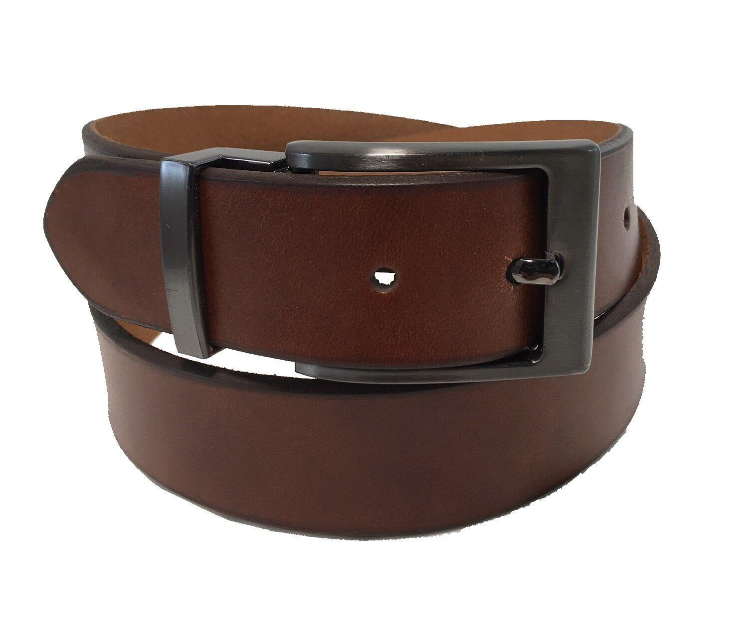 Men's Genuine Leather Tan Belt w/ Removable Polished Gun Met