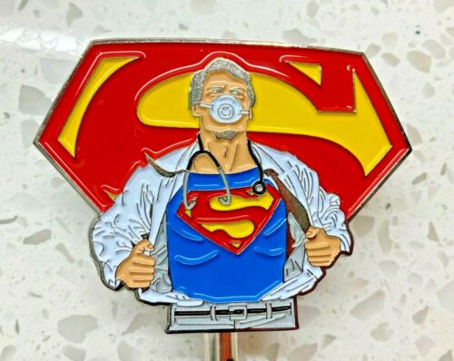 Superman with Stethoscope & Face Mask ID Holder Retractable All Metal Reel