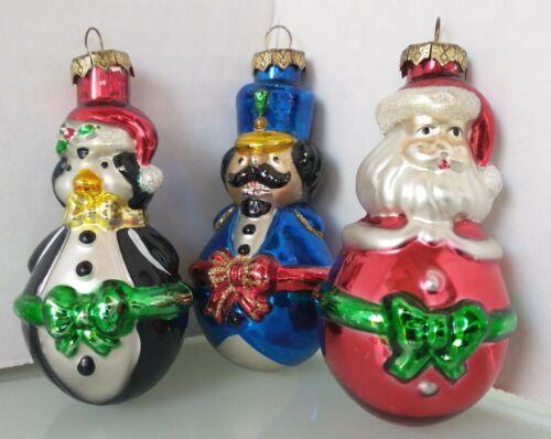 "Old World Christmas Style Ornaments ""Jolly Belly"" Santa-Penguin-Cirucus MC LOT 3"