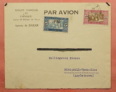 1929 FRENCH WEST AFRICA SENEGAL SURCHARGE #134-5 DAKAR AIRMAIL TO ENGLAND