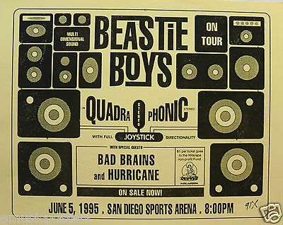 "BEASTIE BOYS ""QUADROPHONIC MULTI DEMENSIONAL SOUND"" 1995 SAN DIEGO TOUR POSTER"
