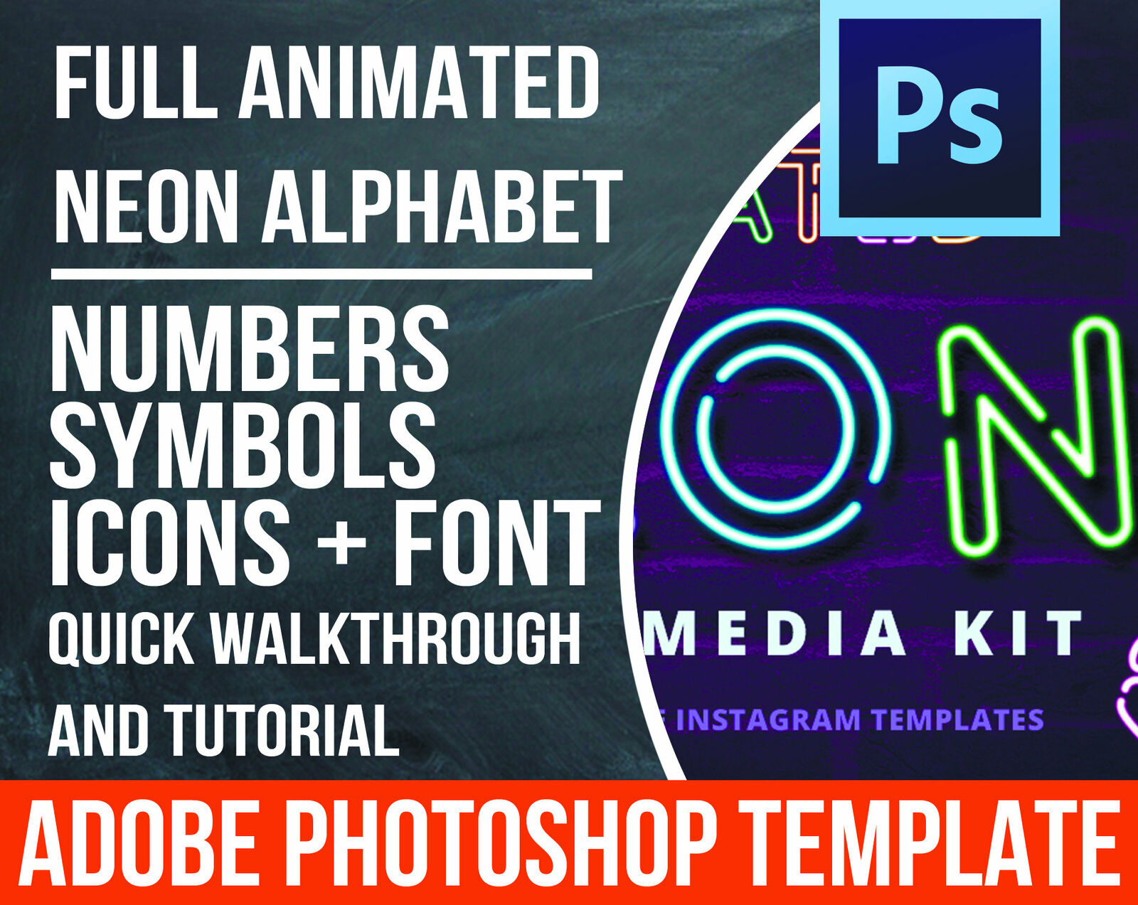 Animated Neon Alphabet For Instagram Stories. PSD Files. Digital Download  - $15.00