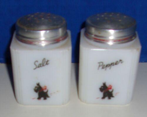 Vintage TIPP Milk Glass Salt & Pepper Shakers Scotty Dog Designs   USA