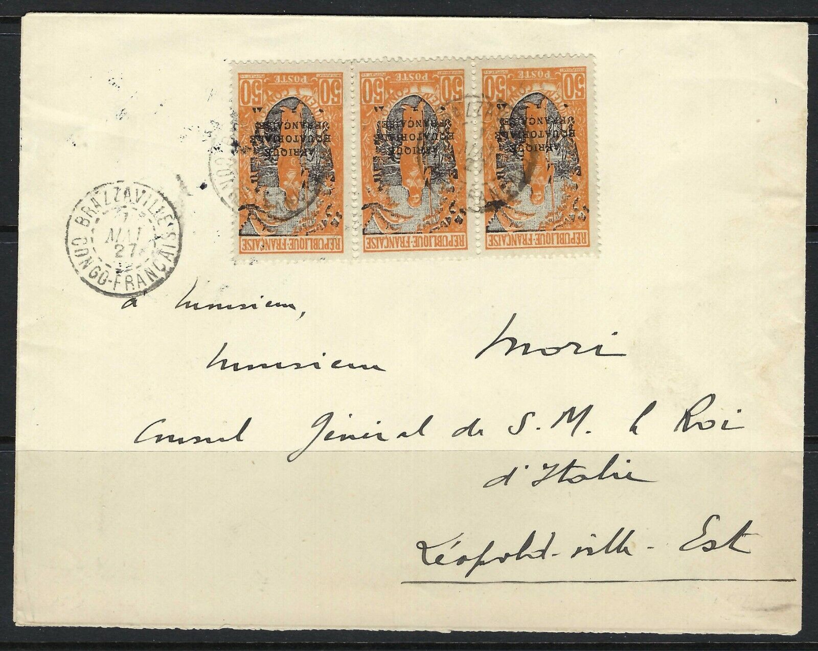 B D 1927 Middle Congo Scott 41 x3 On Official Mail Brazzaville-Leopoldville - $34.99