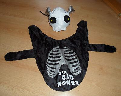 alloween Kostüm Skelett Totenkopf Bad Bones Gr. M / L 30 cm (Hunde-halloween-kostüm)