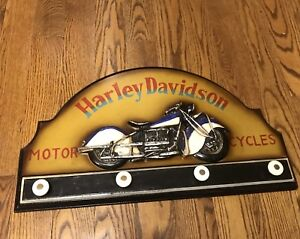 Harley Davidson carved style picture/ hat rack.