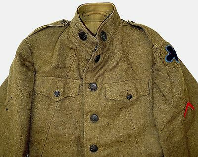 RARE ORIGINAL 1917 WWI US ARMY ENLISTED MANS JACKET COMPANY H / PATCHES STRIPES