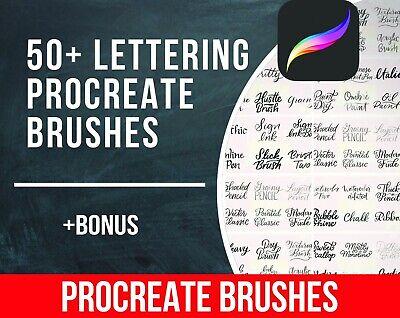 50 Lettering Procreate Brushes Brush Lettering Ipad Pro Calligraphy Brushes