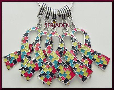 Ribbon Awareness (5 Large Autism Awareness Ribbon Fits European Jewelry 26 * 39 & 5 mm Hole  )