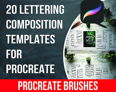 Lettering Composition Procreate Templates. Procreate Brushes. Digital Download