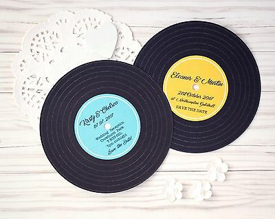 Vintage Retro Music Record Save the Date Cards w/envelopes - Wedding Invitation
