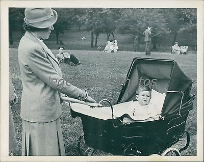 1949 Little Prince Charles For Walk In Carriage Original News Service Photo