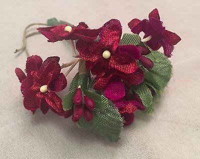 Vintage Millinery Flowers - Bunch of Burgundy Satin Flowers