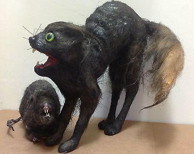 1960's Carnival Props Black Cat & Rat haunted fun house horror mid century lot