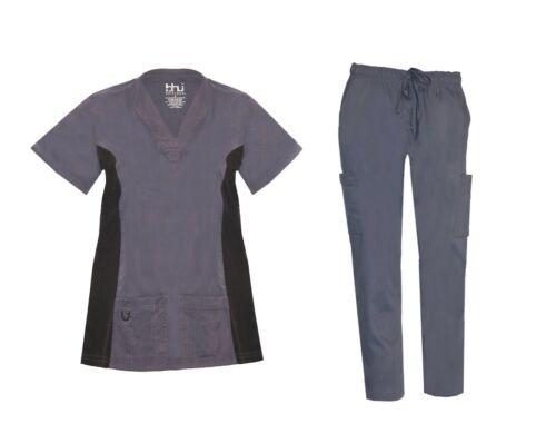 Womens STRETCH Medical Hospital Nursing Uniform Scrub Set Top Pant S M L XL 2XL