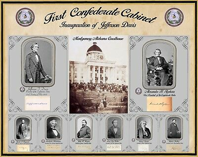 """Inauguration of Jefferson Davis, Poster w/all cabinet photos & autographs 16x20"""""""