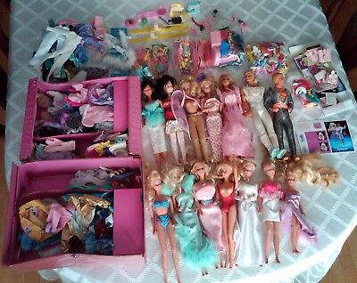 BIG LOT of barbie dolls clothes malibu stacie ken any age case accessories