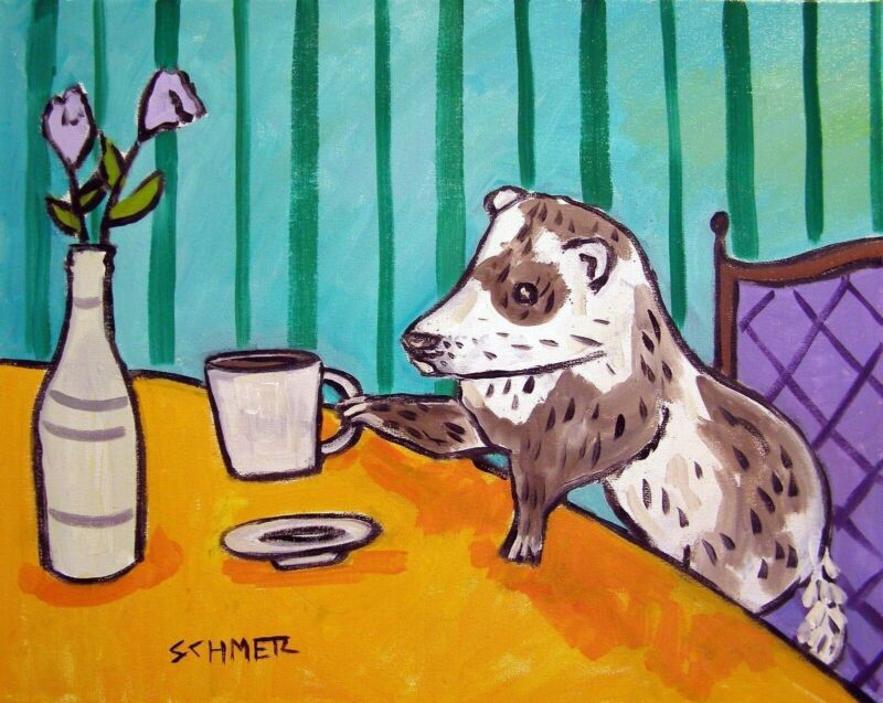 FERRET coffee  art print animals impressionism 11x14 gift new