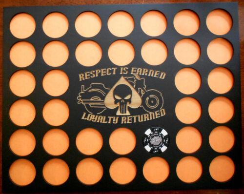 36 Poker Chip Display Frame Insert For Harley Davidson/Casino Punisher/Respect