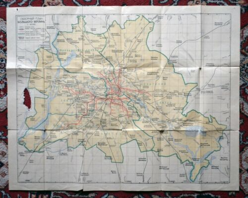 1946 Overview MAP of Greater Berlin Russian publish post WW2 WWII Occupied Zones
