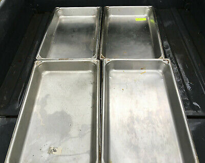 Lot Of 4 Stainless Steel Full Size 2.5 Deep Steam Table Pans 520d