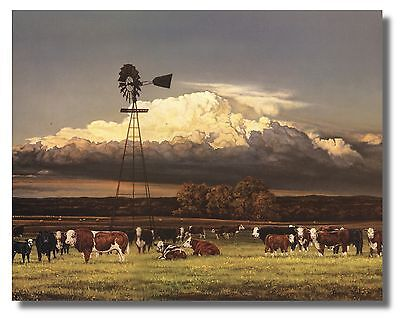"Cows,Windmill,Cloudy Sky ""Summer Pastures""By Bonnie Mohr WallArt Print Picture"