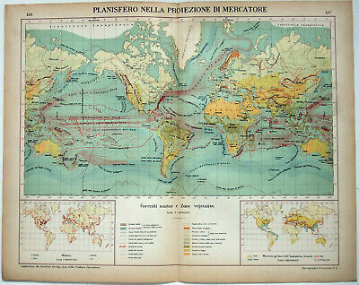 World Sea Currents - Original 1915 Charts by Kartographia Winterthur S.A. Map