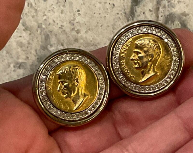 Estate Signed Ben Amun Gold Plated Rhinestone Caesar Adest Coin Clip On Earrings