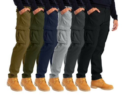 Alamo Mens Cargo Combat Trousers 6 Pocket Workwear Full Pants