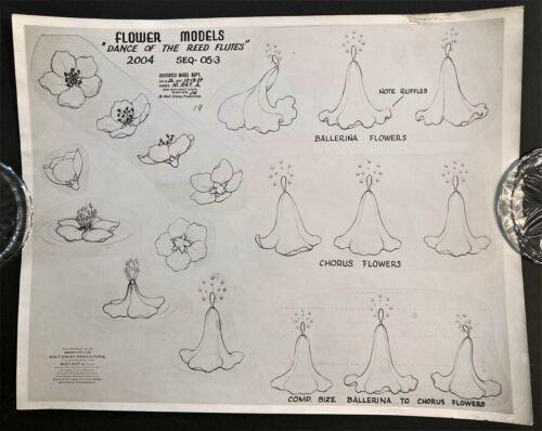 "1939 DISNEY ""FANTASIA: NUTCRACKER"" OZALID MODEL SHEET ""DANCE OF REED FLUTES"""