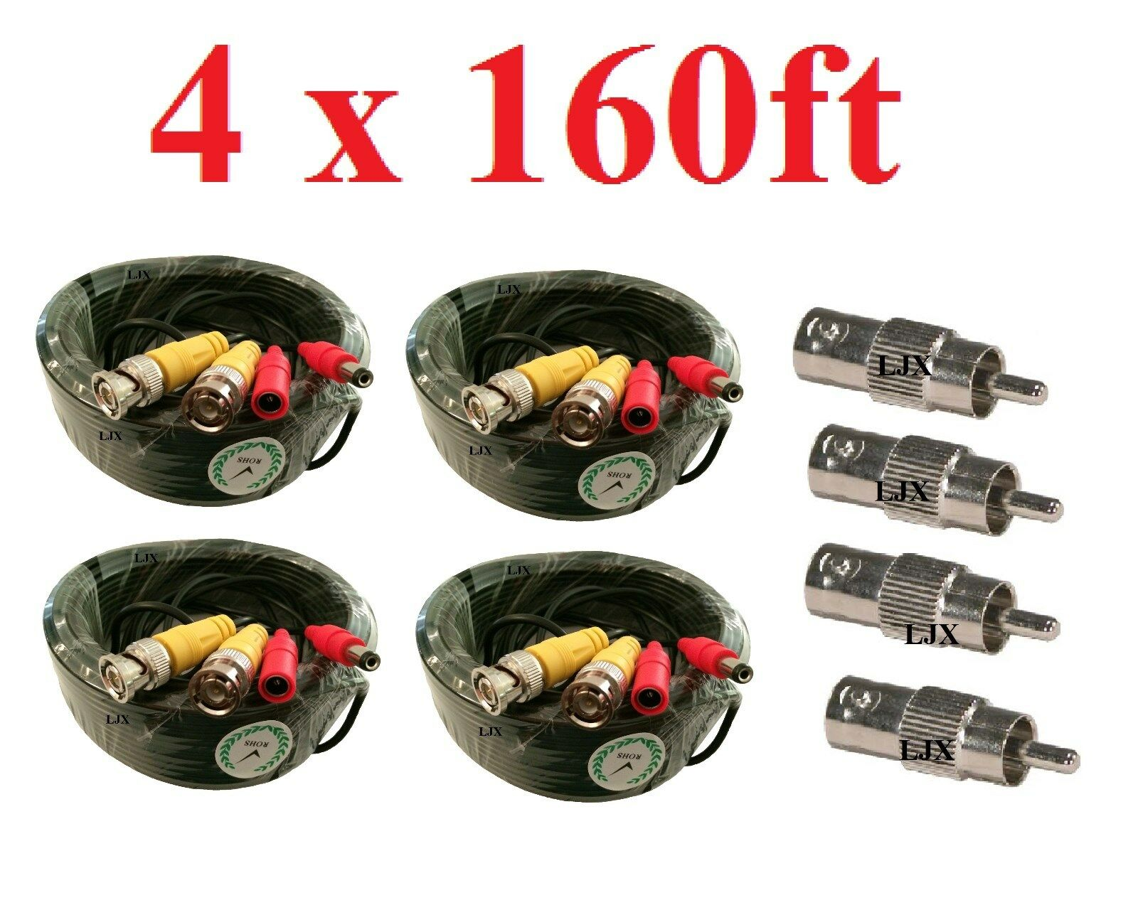 (4) New 160ft BNC CCTV Video Power Cable CCD Security Camera DVR Wire Cord