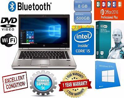 HP ELITEBOOK Laptop Computer PC CORE I5 Windows 8GB 500GB WiFi DVD NOTEBOOK HD