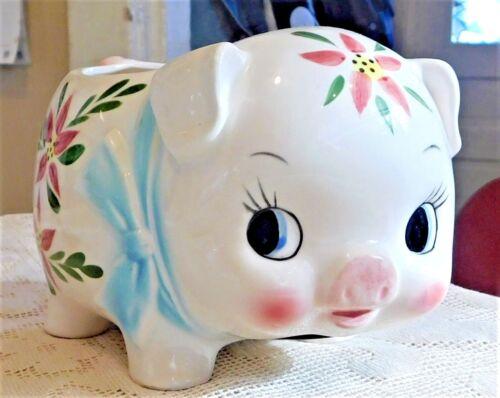 VINTAGE MID -20th CENTURY HAND PAINTED PORCELAIN PIGGY BANK PLANTER - JAPAN