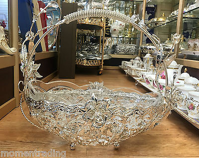 Crystal Glass Bowl in Glossy Silver Holder Basket Fruits Snaks