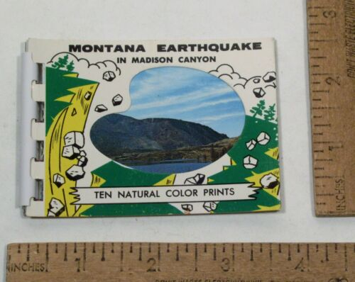 MONTANA EARTHQUAKE in Madison Canyon - Souvenir - Mini COLOR PRINTS booklet
