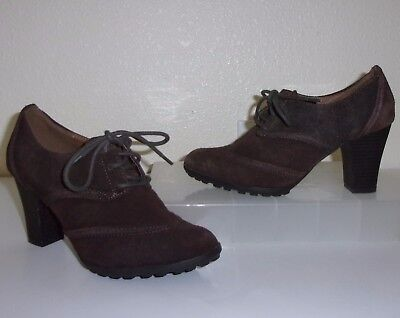 (Sonoma Dark Brown Suede Lace Up Heels Oxfords Pumps Size 6 Shoes Booties)