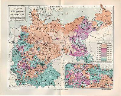 Landkarte map 1905: KONFESSIONEN. Verbreitung JUDENTUM.  DEUTSCHES REICH. 1890